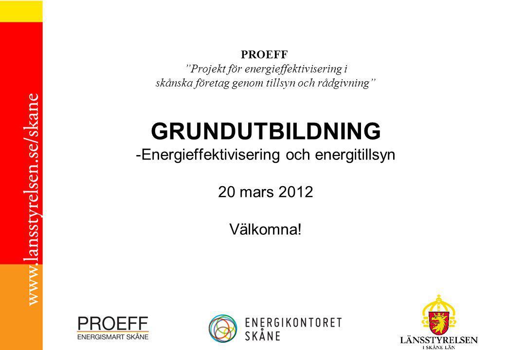 PROEFF Projekt för energieffektivisering i skånska företag genom tillsyn och rådgivning GRUNDUTBILDNING -Energieffektivisering och energitillsyn 20 mars 2012 Välkomna!