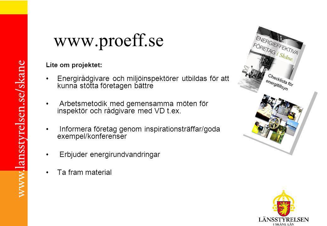 www.proeff.se Lite om projektet: Energirådgivare och miljöinspektörer utbildas för att kunna stötta företagen bättre Arbetsmetodik med gemensamma möten för inspektör och rådgivare med VD t.ex.