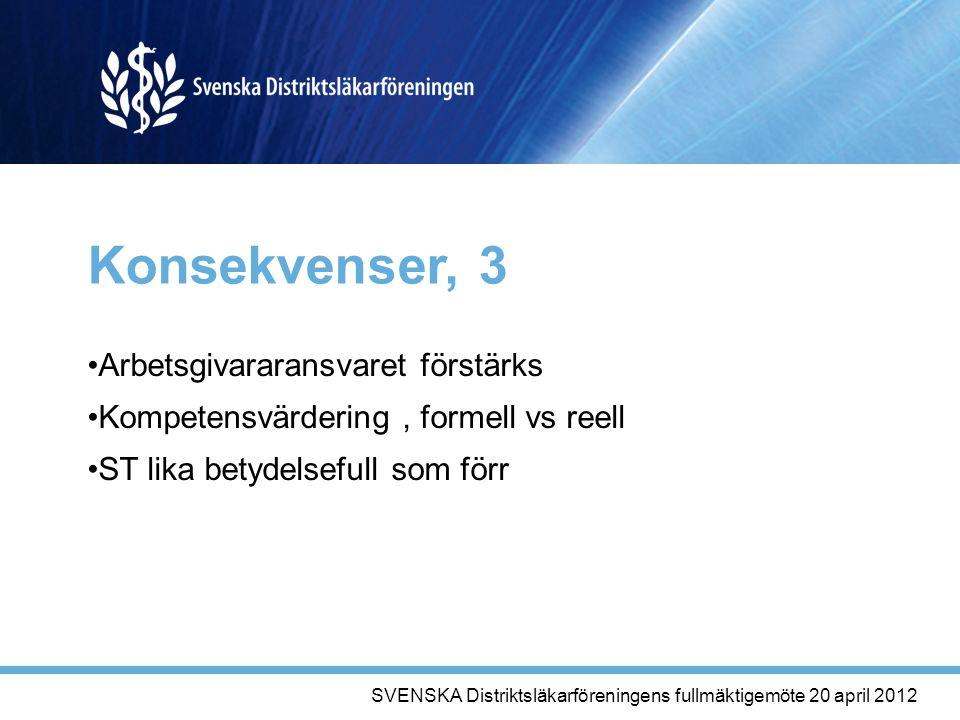Konsekvenser, 3 Arbetsgivararansvaret förstärks Kompetensvärdering, formell vs reell ST lika betydelsefull som förr SVENSKA Distriktsläkarföreningens fullmäktigemöte 20 april 2012