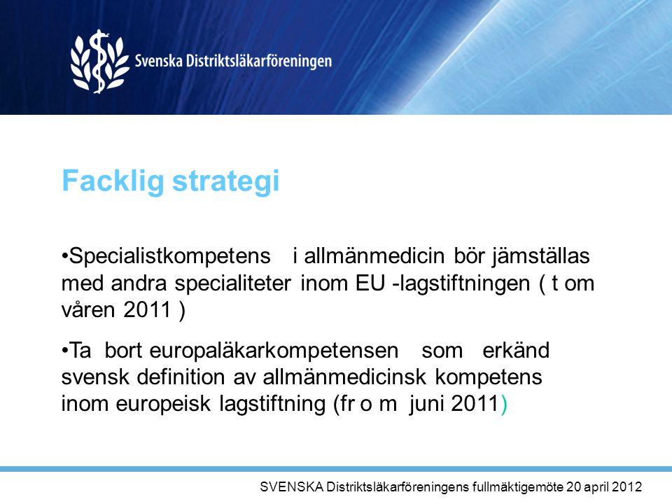 Facklig strategi Specialistkompetens i allmänmedicin bör jämställas med andra specialiteter inom EU -lagstiftningen ( t om våren 2011 ) Ta bort europaläkarkompetensen som erkänd svensk definition av allmänmedicinsk kompetens inom europeisk lagstiftning (fr o m juni 2011) SVENSKA Distriktsläkarföreningens fullmäktigemöte 20 april 2012
