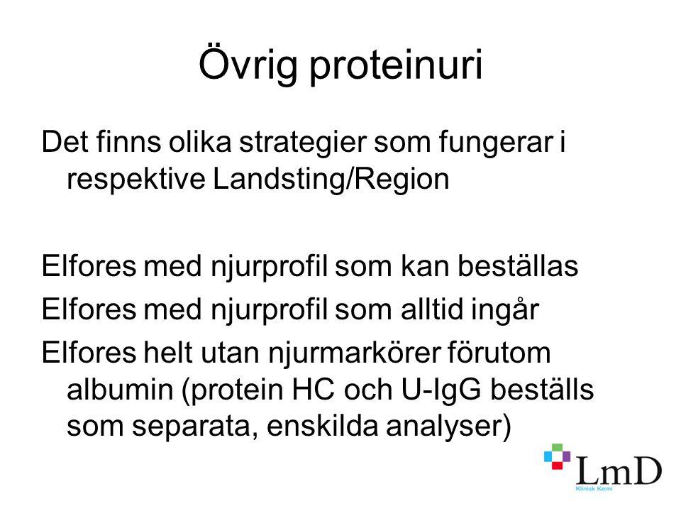 Övrig proteinuri Det finns olika strategier som fungerar i respektive Landsting/Region Elfores med njurprofil som kan beställas Elfores med njurprofil som alltid ingår Elfores helt utan njurmarkörer förutom albumin (protein HC och U-IgG beställs som separata, enskilda analyser)