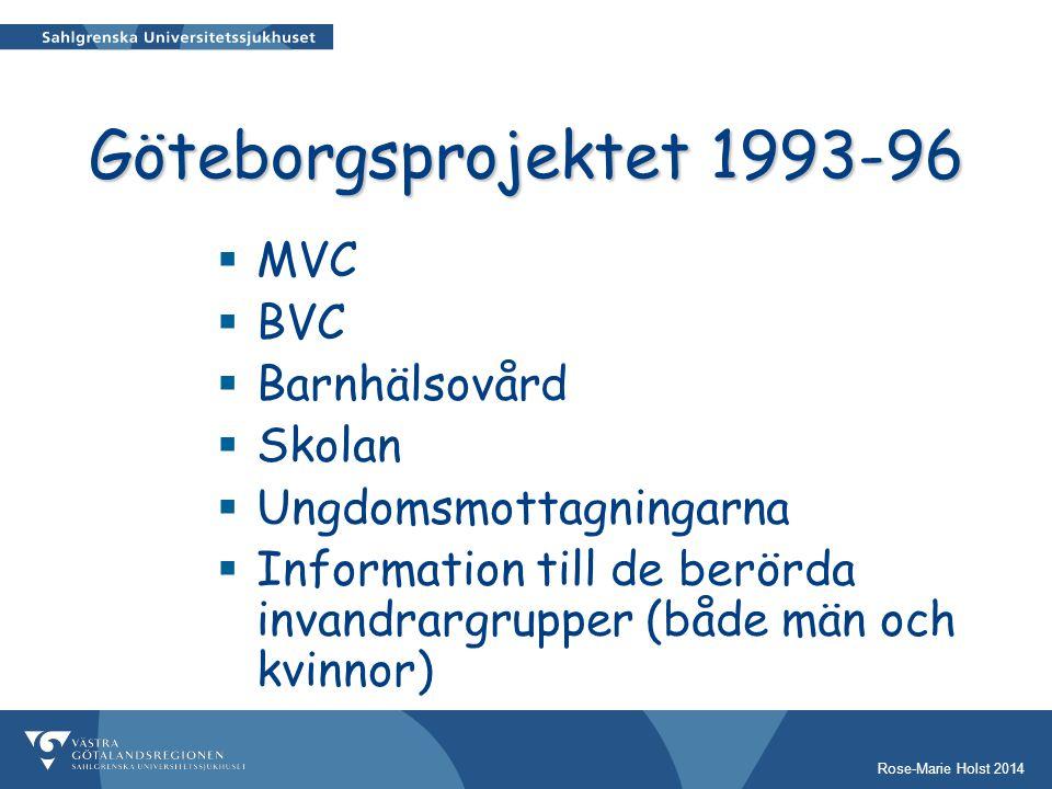 Rose-Marie Holst 2014 Göteborgsprojektet 1993-96  MVC  BVC  Barnhälsovård  Skolan  Ungdomsmottagningarna  Information till de berörda invandrargrupper (både män och kvinnor)