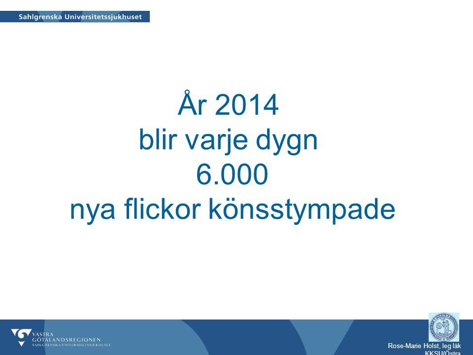 Rose-Marie Holst, leg läk KKSU/Östra I Sverige lever ca 91420 personer med rötter i länder där könsstympning praktiseras 40.000 är kvinnor varav 20.000 är från Somalia 12.000 är flickor 0 - 18 år