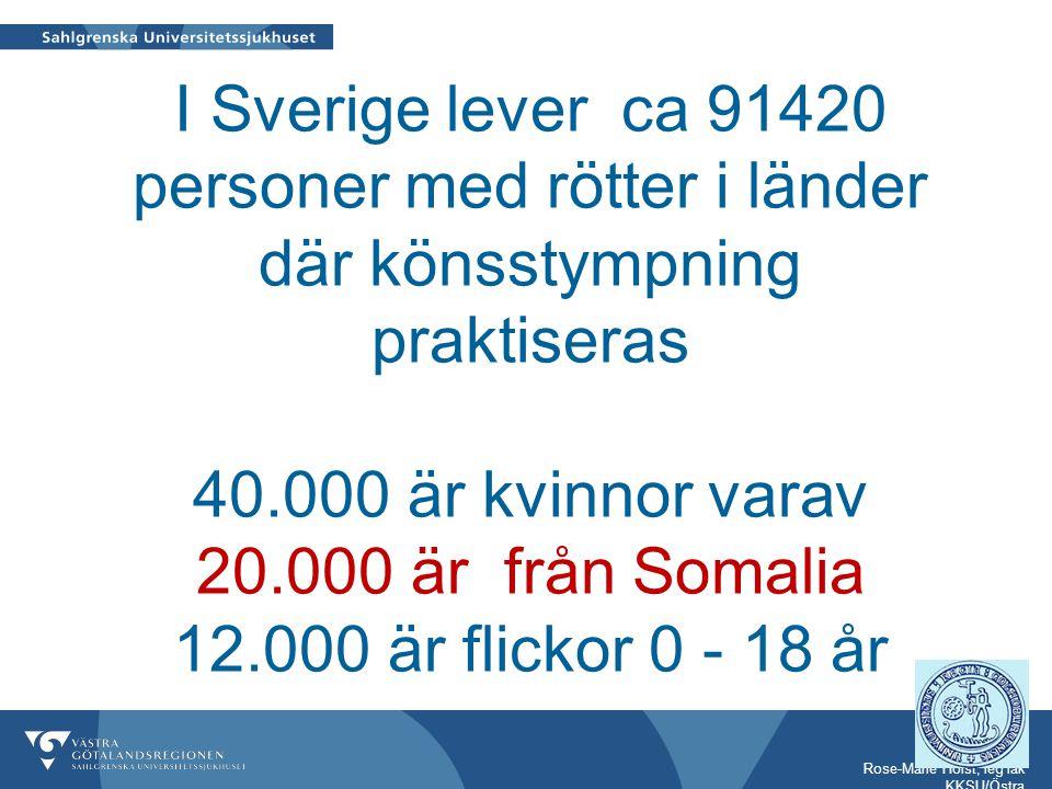 Rose-Marie Holst, leg läk KKSU/Östra I Sverige lever ca 91420 personer med rötter i länder där könsstympning praktiseras 40.000 är kvinnor varav 20.00