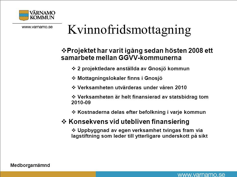 Medborgarnämnd Kvinnofridsmottagning  Projektet har varit igång sedan hösten 2008 ett samarbete mellan GGVV-kommunerna  2 projektledare anställda av Gnosjö kommun  Mottagningslokaler finns i Gnosjö  Verksamheten utvärderas under våren 2010  Verksamheten är helt finansierad av statsbidrag tom 2010-09  Kostnaderna delas efter befolkning i varje kommun  Konsekvens vid utebliven finansiering  Uppbyggnad av egen verksamhet tvingas fram via lagstiftning som leder till ytterligare underskott på sikt