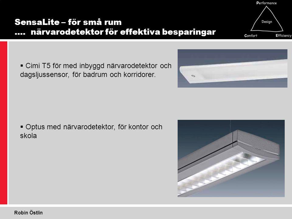 17 1 SensaLite – för små rum …. närvarodetektor för effektiva besparingar  Cimi T5 för med inbyggd närvarodetektor och dagsljussensor, för badrum och