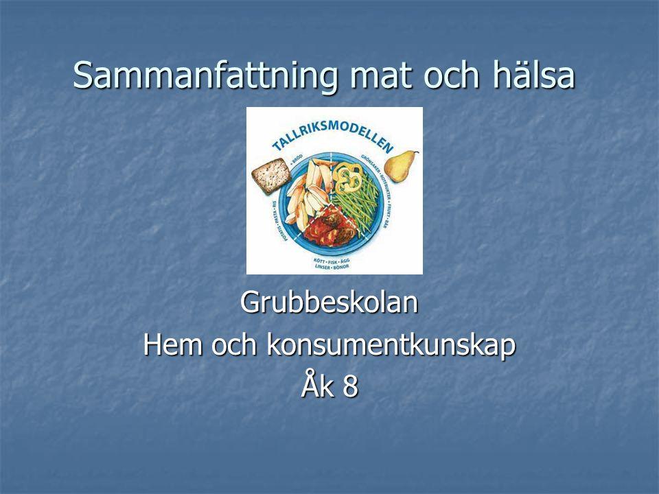 Sammanfattning mat och hälsa Grubbeskolan Hem och konsumentkunskap Åk 8