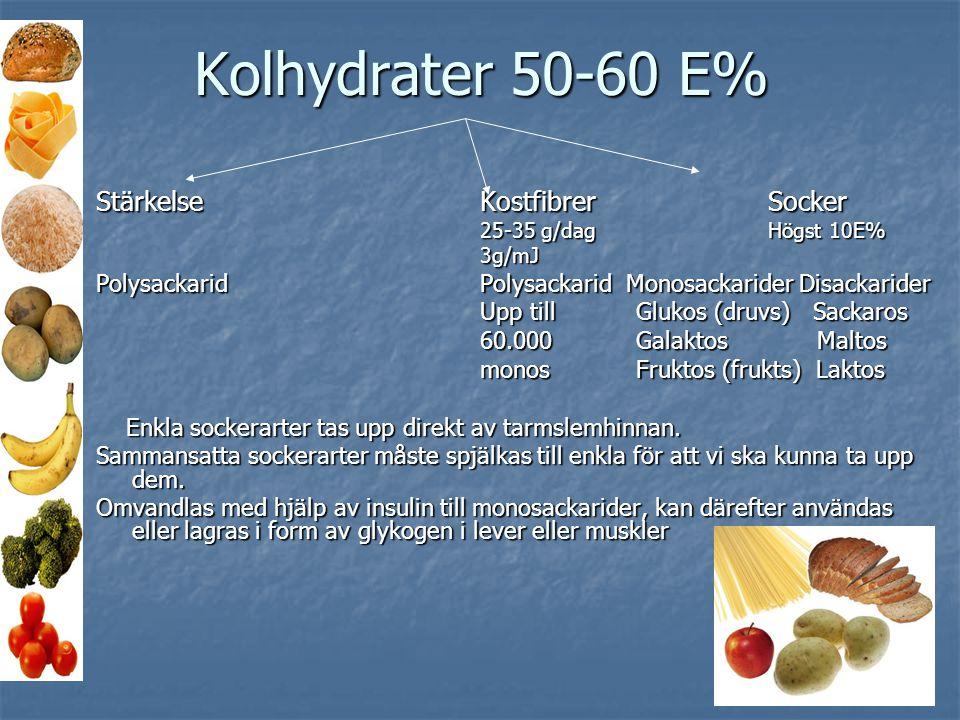 Kolhydrater 50-60 E% StärkelseKostfibrerSocker 25-35 g/dagHögst 10E% 3g/mJ Polysackarid Polysackarid Monosackarider Disackarider Upp till Glukos (druv