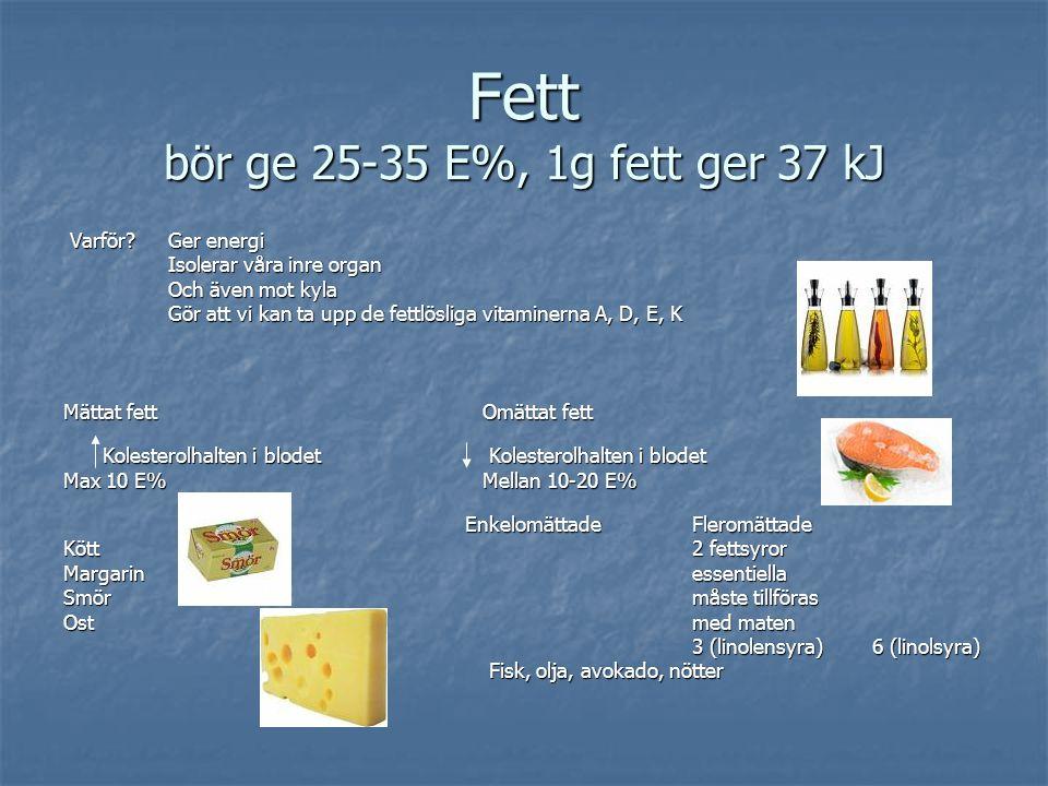 Fett bör ge 25-35 E%, 1g fett ger 37 kJ Varför? Ger energi Varför? Ger energi Isolerar våra inre organ Isolerar våra inre organ Och även mot kyla Och