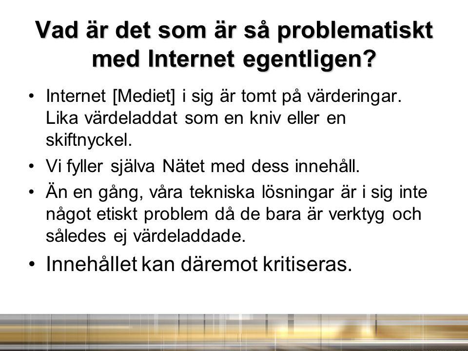 Vad är det som är så problematiskt med Internet egentligen.