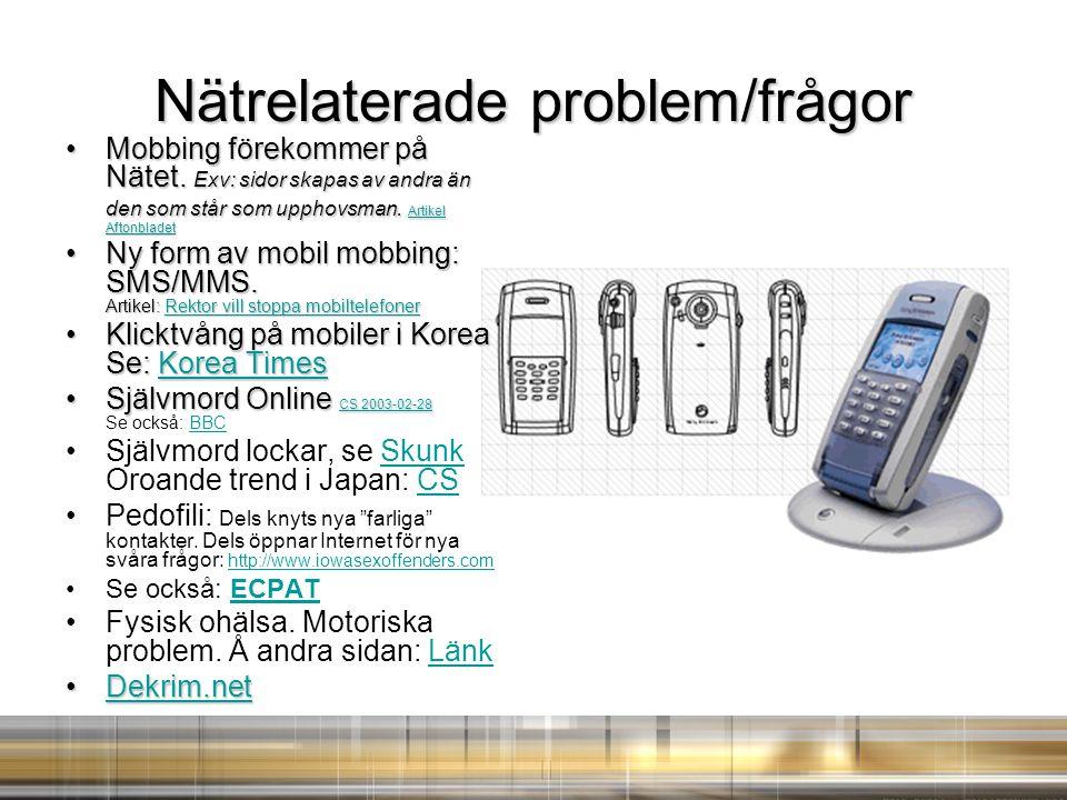 Nätrelaterade problem/frågor Mobbing förekommer på Nätet.