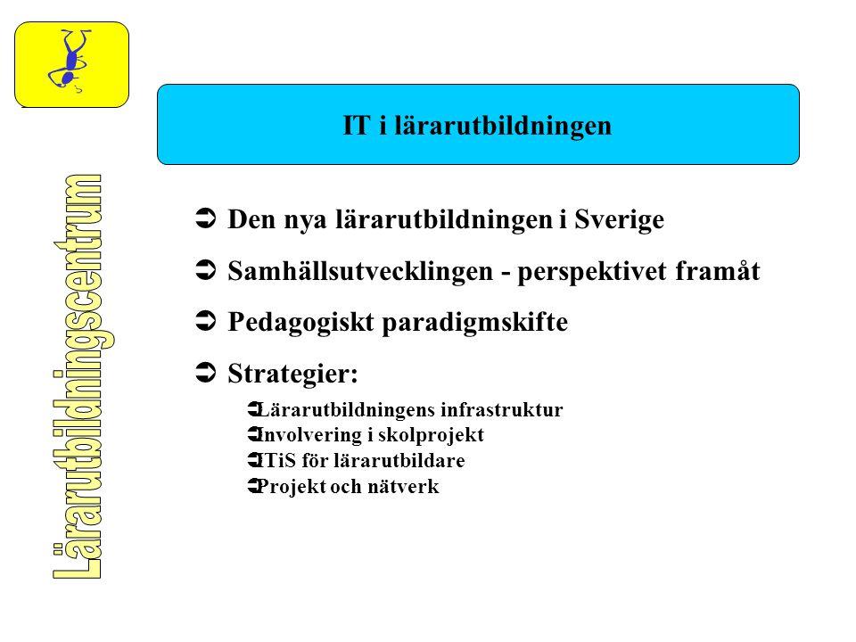 IT i lärarutbildningen  Den nya lärarutbildningen i Sverige  Samhällsutvecklingen - perspektivet framåt  Pedagogiskt paradigmskifte  Strategier: 