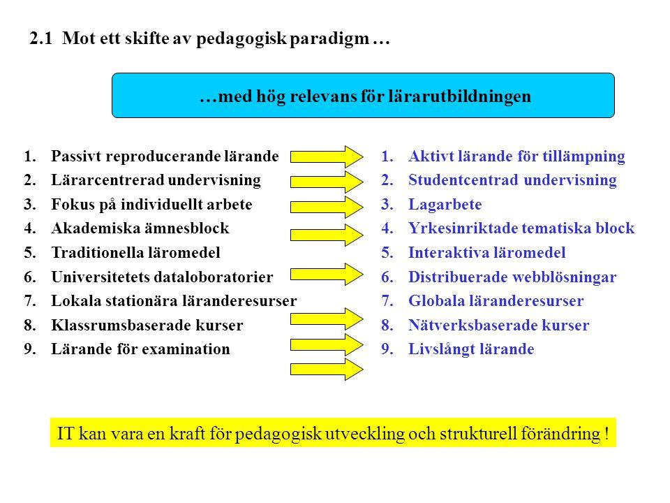 1. Passivt reproducerande lärande 2.Lärarcentrerad undervisning 3.Fokus på individuellt arbete 4.Akademiska ämnesblock 5.Traditionella läromedel 6.Uni