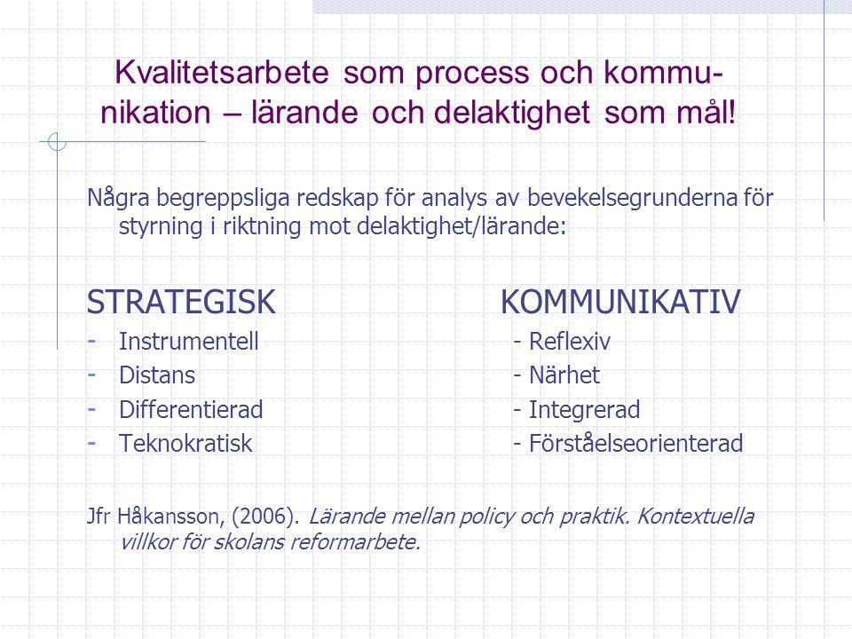 Kvalitetsarbete som process och kommu- nikation – lärande och delaktighet som mål! Några begreppsliga redskap för analys av bevekelsegrunderna för sty
