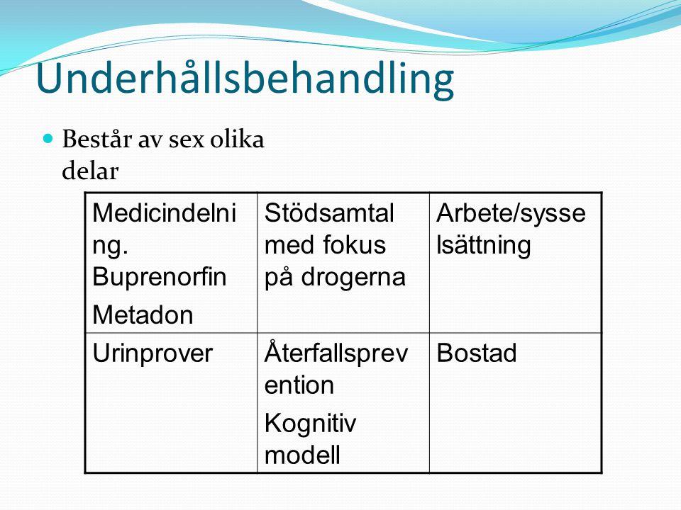 Underhållsbehandling Består av sex olika delar Medicindelni ng. Buprenorfin Metadon Stödsamtal med fokus på drogerna Arbete/sysse lsättning Urinprover