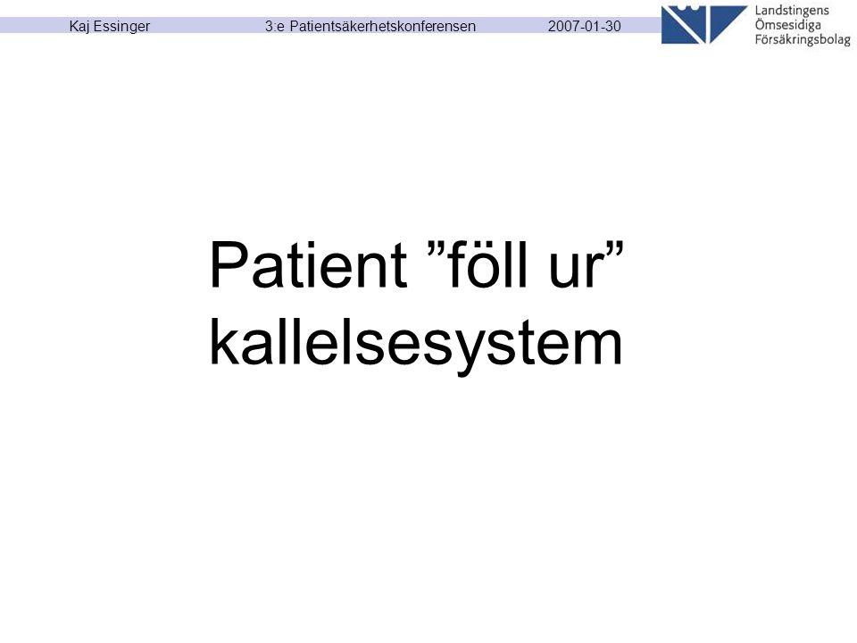 "2007-01-30 Kaj Essinger 3:e Patientsäkerhetskonferensen Patient ""föll ur"" kallelsesystem"