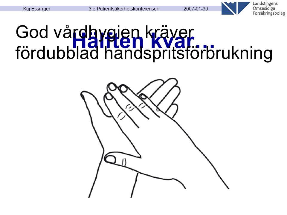 2007-01-30 Kaj Essinger 3:e Patientsäkerhetskonferensen Hälften kvar… God vårdhygien kräver fördubblad handspritsförbrukning