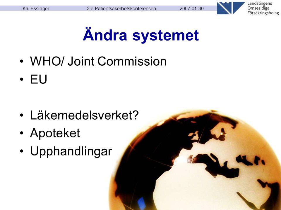 2007-01-30 Kaj Essinger 3:e Patientsäkerhetskonferensen Ändra systemet WHO/ Joint Commission EU Läkemedelsverket? Apoteket Upphandlingar