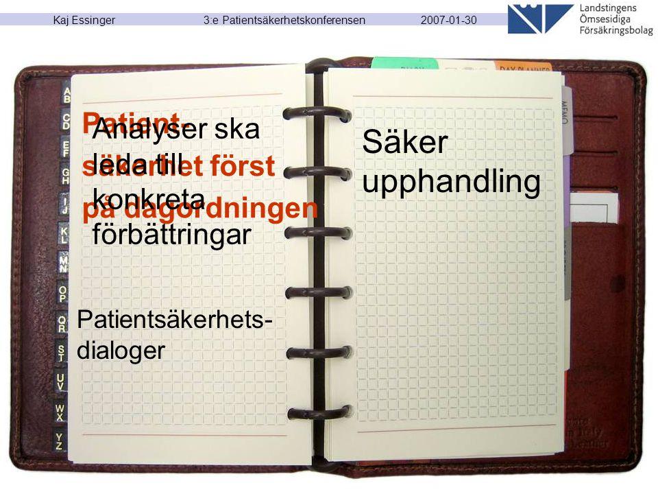 2007-01-30 Kaj Essinger 3:e Patientsäkerhetskonferensen Patient- säkerhet först på dagordningen Analyser ska leda till konkreta förbättringar Patients