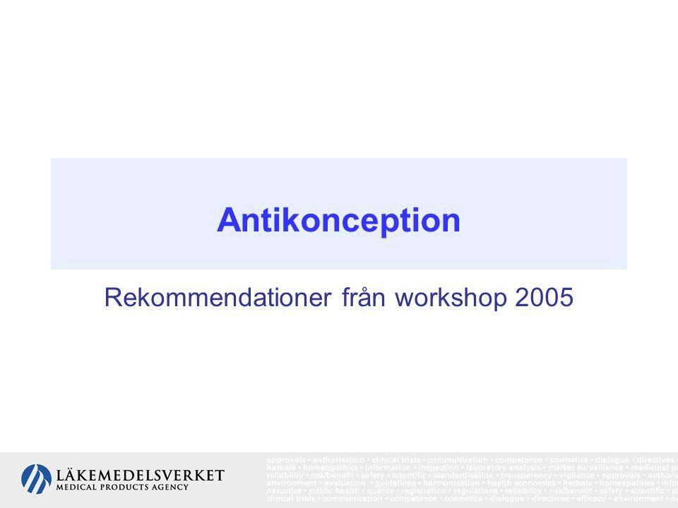Risk i relation till pågående/avslutad behandling: Pågående behandling: RR = 1,24 (1,15–1,33) ≤ 4 år efter avslutad behandling: RR = 1,16 (1,08–1,23) 5–9 år efter avslutad behandling: RR = 1,07 (1,02–1,3) ≥ 10 år efter avslutad behandling: RR = 1,01 (0,96–1,05) Behandlingens längd, dos eller typ av kombinerad hormonell antikonception : Liten betydelse för riskökningens storlek Ålder vid start av behandling: * före 20 års ålder RR = 1,22 (1,17 -1,26) * 20 - 24 års ålder RR= 1,04 (1.02 -1,06) * 25 - 29 års ålder RR = 1,06 (1,03 -1,08) Riskökningen gäller främst mindre avancerade tumörer: RR för tumör som spritts utanför bröstet jf lokaliserad tumör = 0,88 (0,81–0,95) Kombinerad hormonell antikonception och risken för bröstcancer Antikonception WS, 2005.