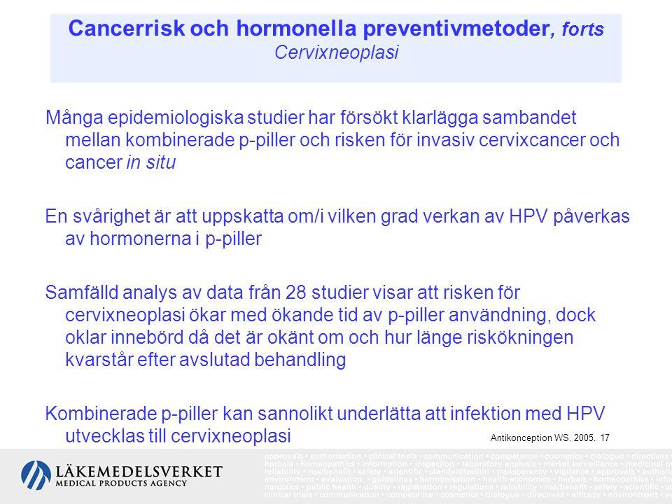 Cancerrisk och hormonella preventivmetoder, forts Cervixneoplasi Många epidemiologiska studier har försökt klarlägga sambandet mellan kombinerade p-pi