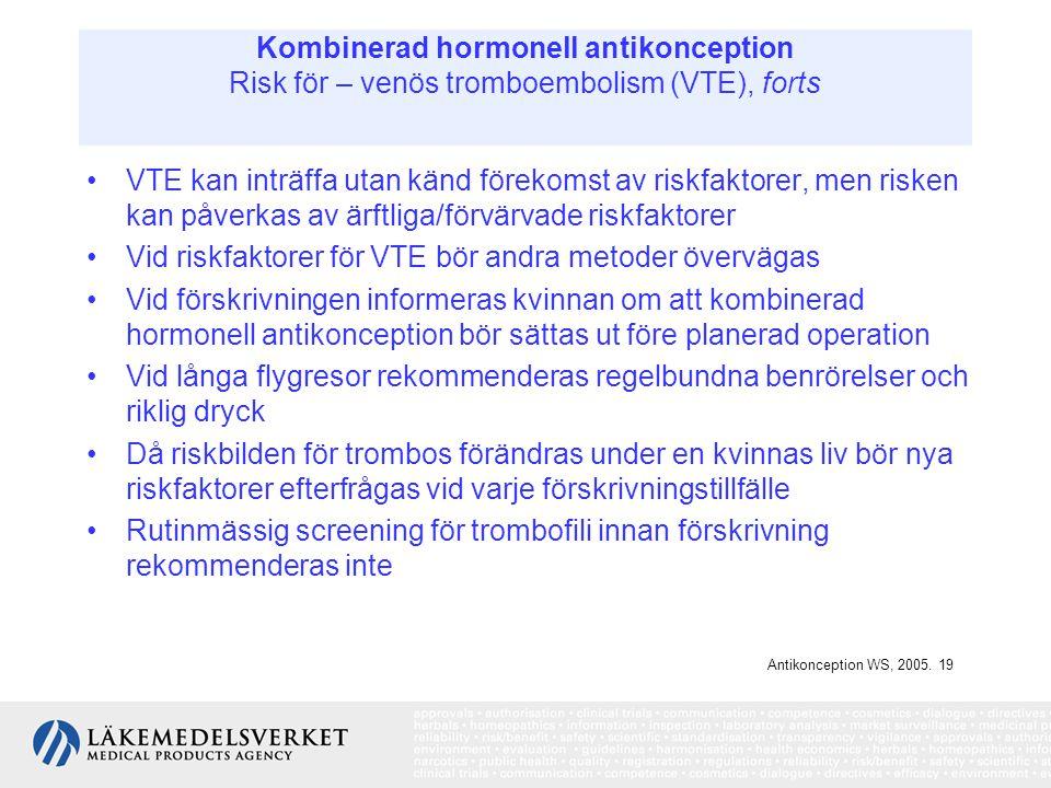 Kombinerad hormonell antikonception Risk för – venös tromboembolism (VTE), forts VTE kan inträffa utan känd förekomst av riskfaktorer, men risken kan