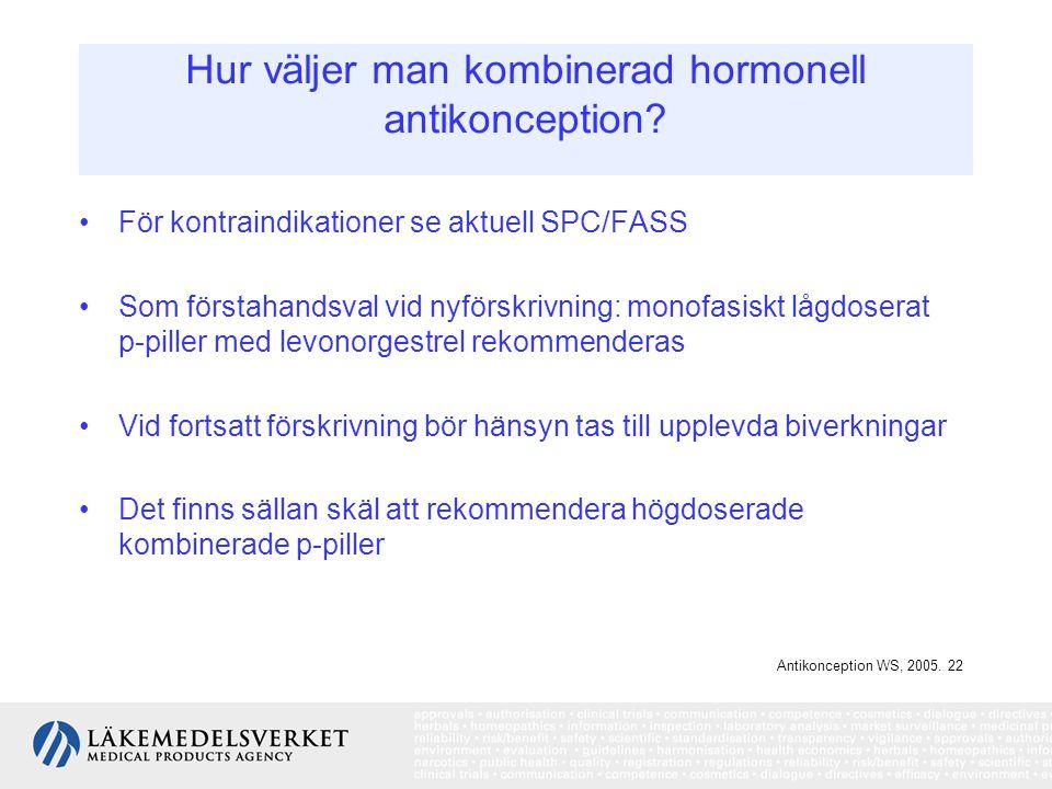 Hur väljer man kombinerad hormonell antikonception? För kontraindikationer se aktuell SPC/FASS Som förstahandsval vid nyförskrivning: monofasiskt lågd
