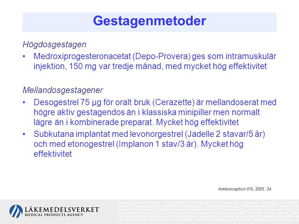 Gestagenmetoder Högdosgestagen Medroxiprogesteronacetat (Depo-Provera) ges som intramuskulär injektion, 150 mg var tredje månad, med mycket hög effekt