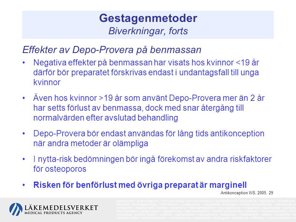 Gestagenmetoder Biverkningar, forts Effekter av Depo-Provera på benmassan Negativa effekter på benmassan har visats hos kvinnor <19 år därför bör prep
