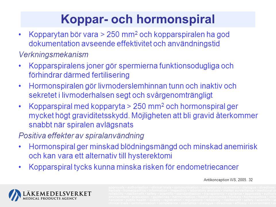 Koppar- och hormonspiral Kopparytan bör vara > 250 mm 2 och kopparspiralen ha god dokumentation avseende effektivitet och användningstid Verkningsmeka