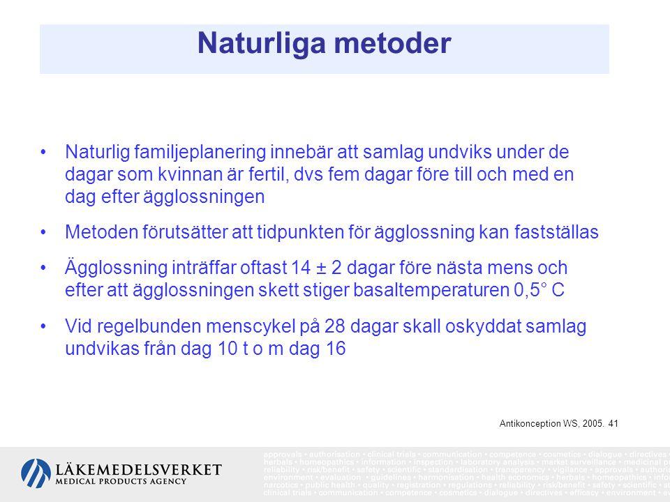 Naturliga metoder Naturlig familjeplanering innebär att samlag undviks under de dagar som kvinnan är fertil, dvs fem dagar före till och med en dag ef