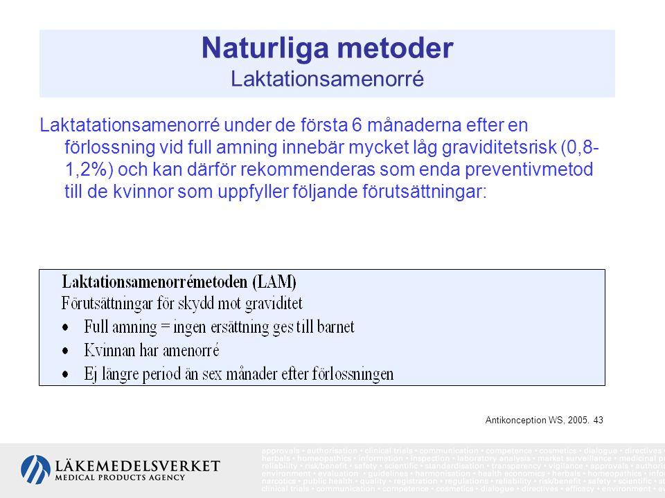 Naturliga metoder Laktationsamenorré Laktatationsamenorré under de första 6 månaderna efter en förlossning vid full amning innebär mycket låg gravidit