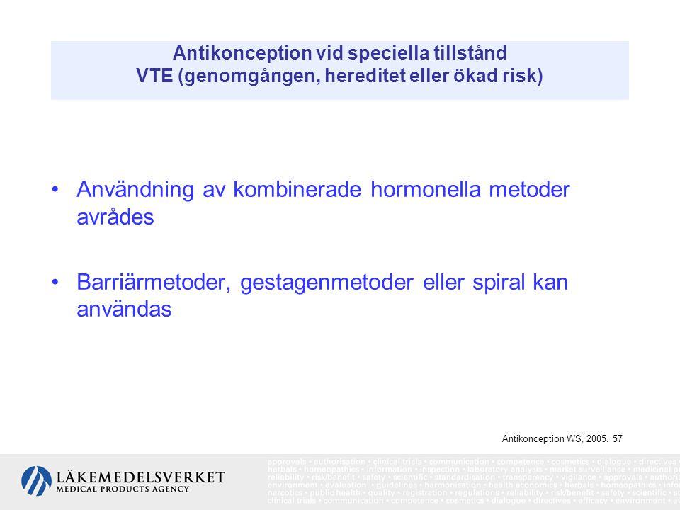 Antikonception vid speciella tillstånd VTE (genomgången, hereditet eller ökad risk) Användning av kombinerade hormonella metoder avrådes Barriärmetode