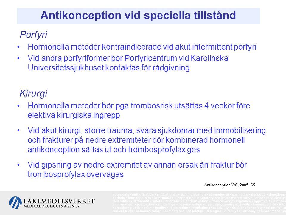 Antikonception vid speciella tillstånd Porfyri Hormonella metoder kontraindicerade vid akut intermittent porfyri Vid andra porfyriformer bör Porfyrice