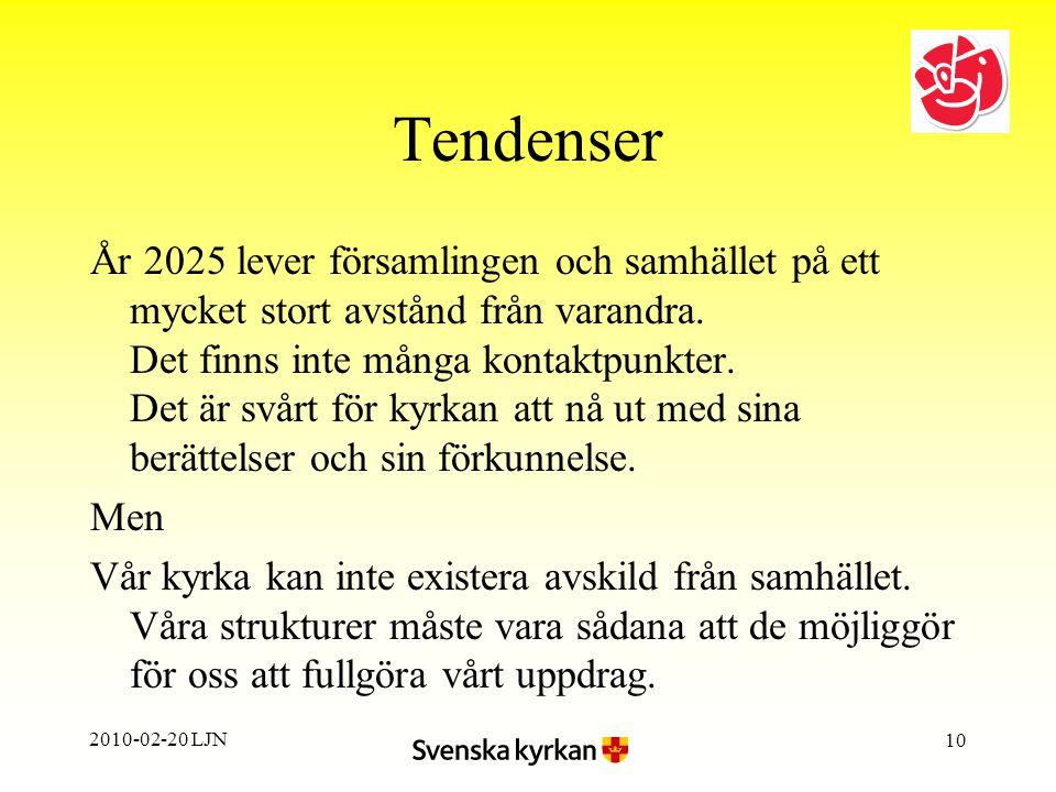 2010-02-20 LJN 10 Tendenser År 2025 lever församlingen och samhället på ett mycket stort avstånd från varandra.