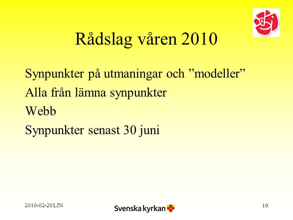2010-02-20 LJN 19 Rådslag våren 2010 Synpunkter på utmaningar och modeller Alla från lämna synpunkter Webb Synpunkter senast 30 juni