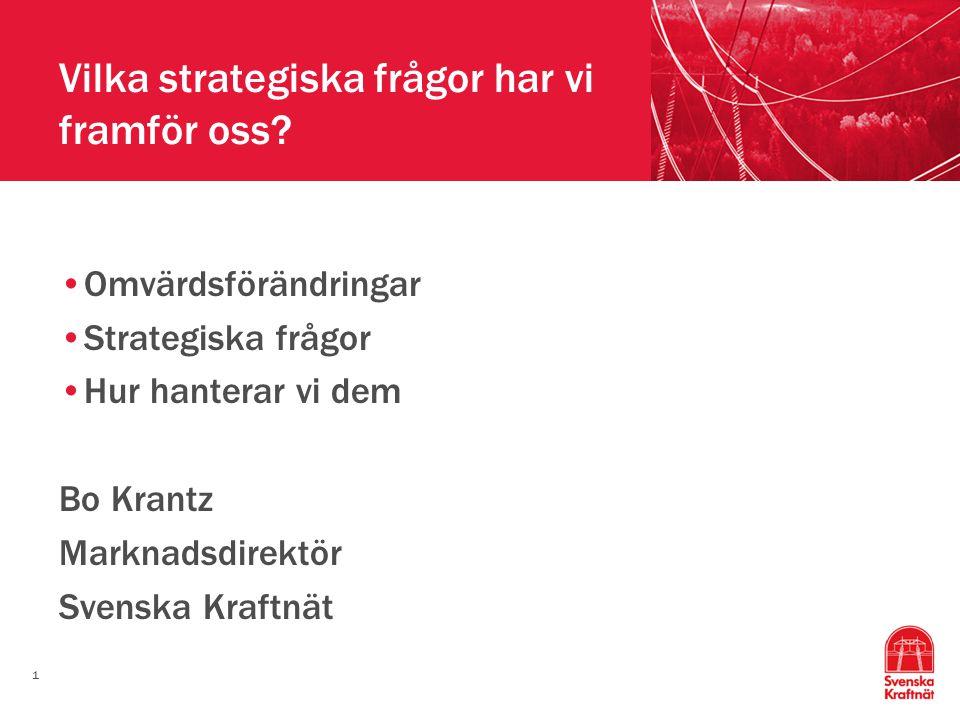 1 Vilka strategiska frågor har vi framför oss? Omvärdsförändringar Strategiska frågor Hur hanterar vi dem Bo Krantz Marknadsdirektör Svenska Kraftnät