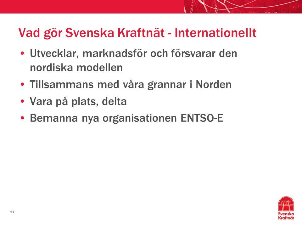 11 Vad gör Svenska Kraftnät - Internationellt Utvecklar, marknadsför och försvarar den nordiska modellen Tillsammans med våra grannar i Norden Vara på plats, delta Bemanna nya organisationen ENTSO-E
