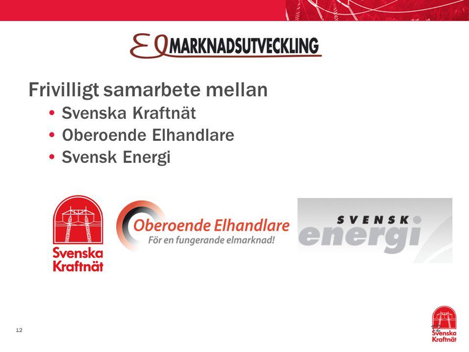 12 Frivilligt samarbete mellan Svenska Kraftnät Oberoende Elhandlare Svensk Energi 12