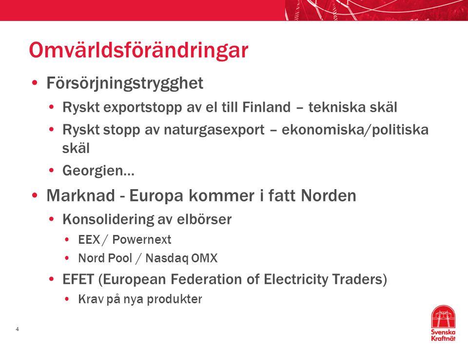4 Omvärldsförändringar Försörjningstrygghet Ryskt exportstopp av el till Finland – tekniska skäl Ryskt stopp av naturgasexport – ekonomiska/politiska