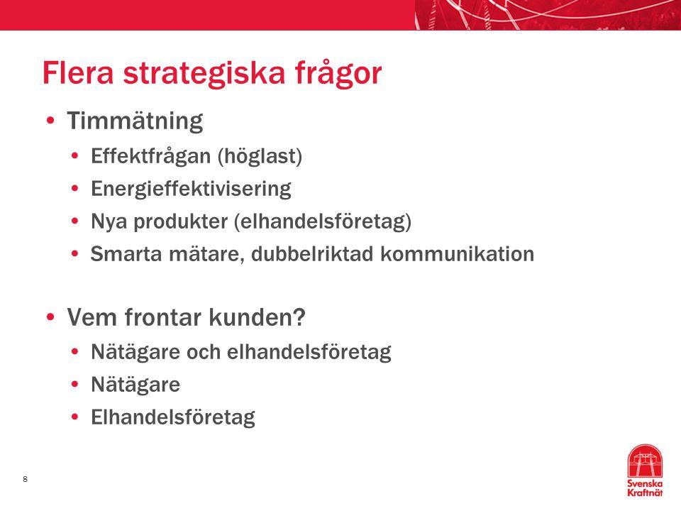 8 Flera strategiska frågor Timmätning Effektfrågan (höglast) Energieffektivisering Nya produkter (elhandelsföretag) Smarta mätare, dubbelriktad kommun