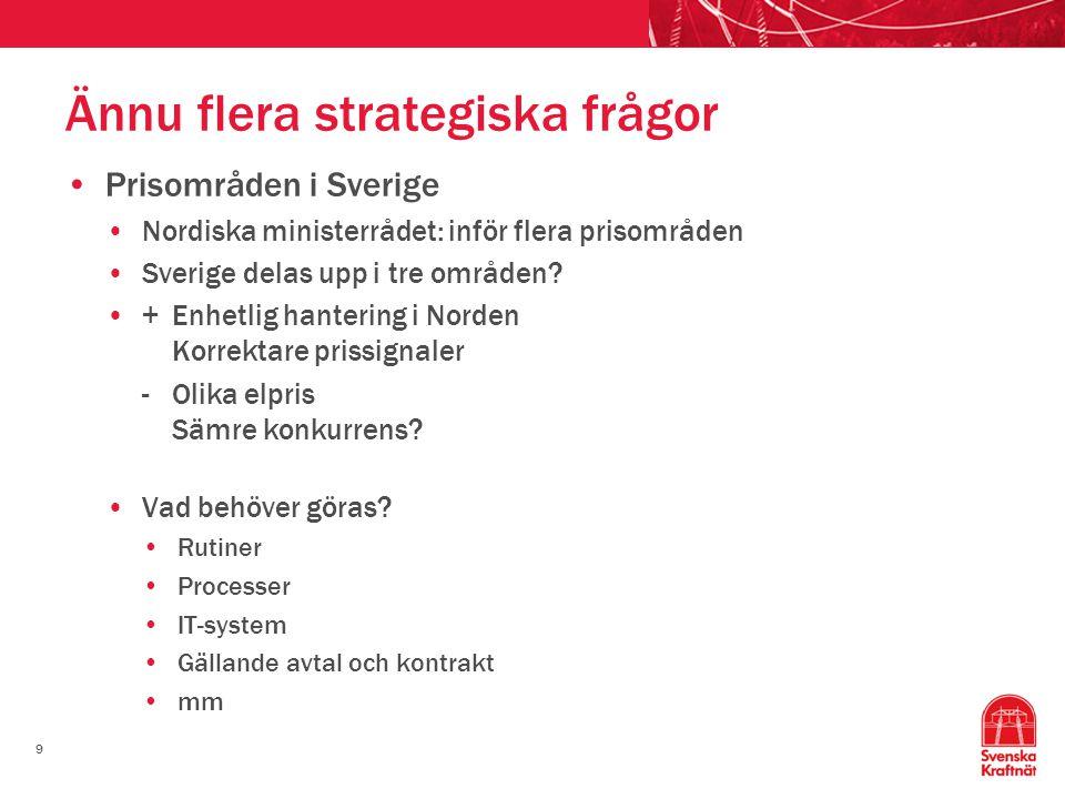 9 Ännu flera strategiska frågor Prisområden i Sverige Nordiska ministerrådet: inför flera prisområden Sverige delas upp i tre områden? +Enhetlig hante