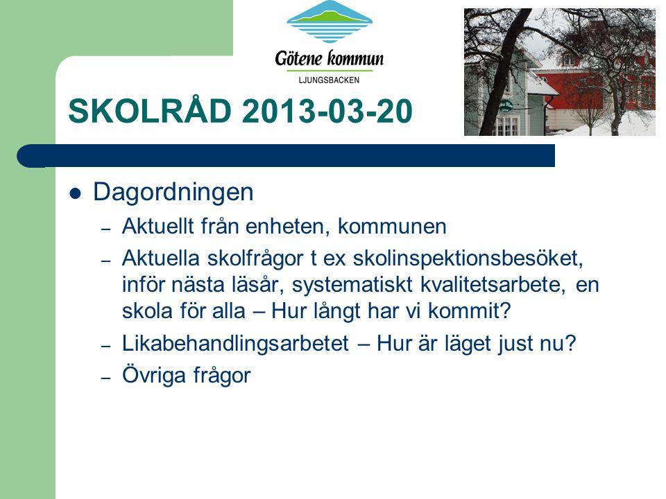 SKOLRÅD 2013-03-20 Dagordningen – Aktuellt från enheten, kommunen – Aktuella skolfrågor t ex skolinspektionsbesöket, inför nästa läsår, systematiskt kvalitetsarbete, en skola för alla – Hur långt har vi kommit.