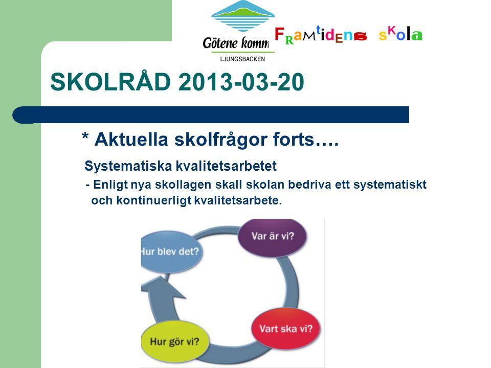 SKOLRÅD 2013-03-20 * Aktuella skolfrågor forts….