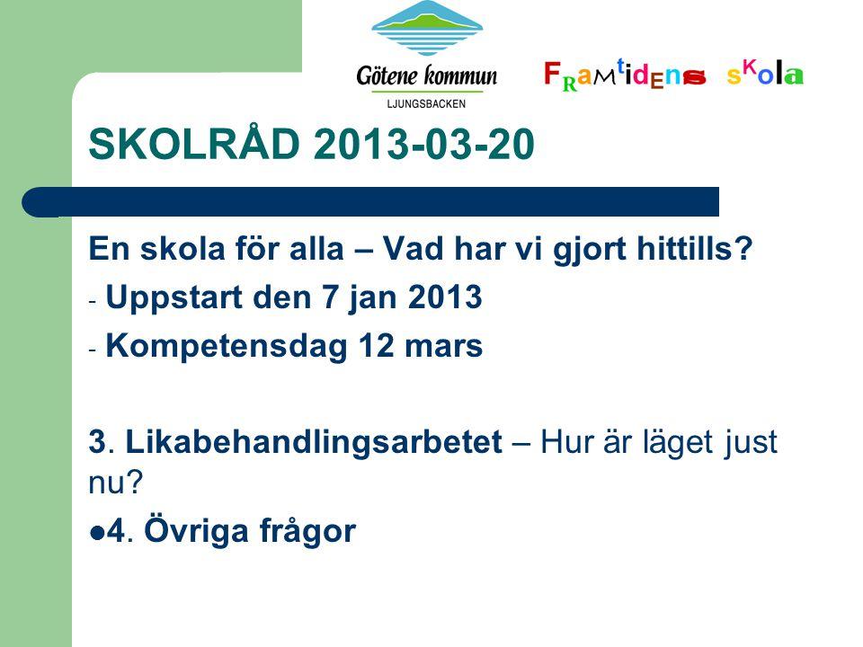 SKOLRÅD 2013-03-20 En skola för alla – Vad har vi gjort hittills.