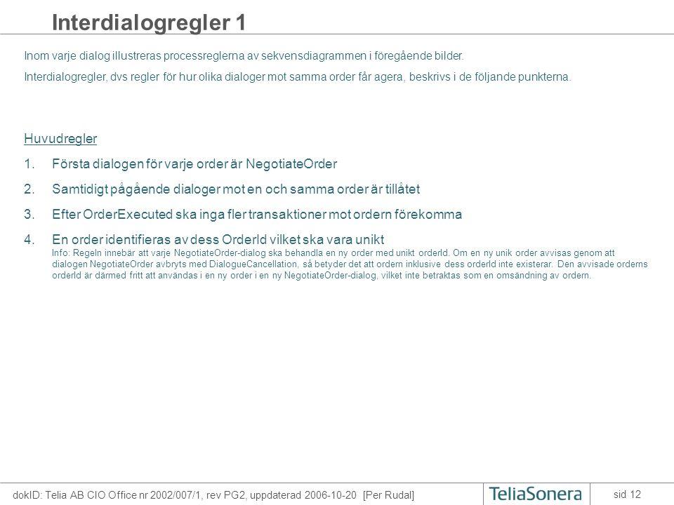 dokID: Telia AB CIO Office nr 2002/007/1, rev PG2, uppdaterad 2006-10-20 [Per Rudal] sid 12 Interdialogregler 1 Inom varje dialog illustreras processr