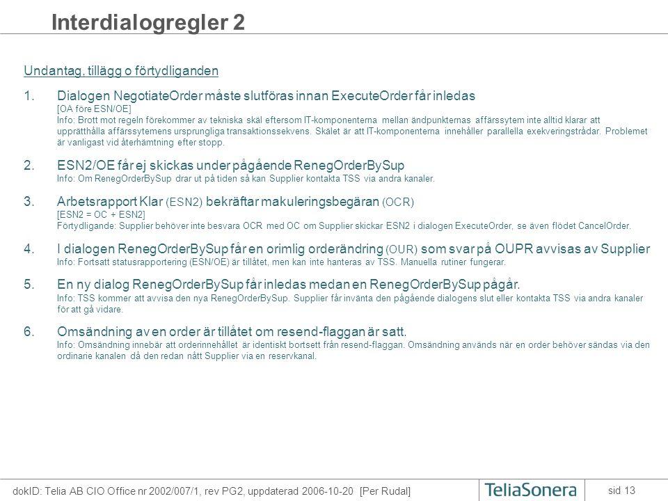 dokID: Telia AB CIO Office nr 2002/007/1, rev PG2, uppdaterad 2006-10-20 [Per Rudal] sid 13 Interdialogregler 2 Undantag, tillägg o förtydliganden 1.D