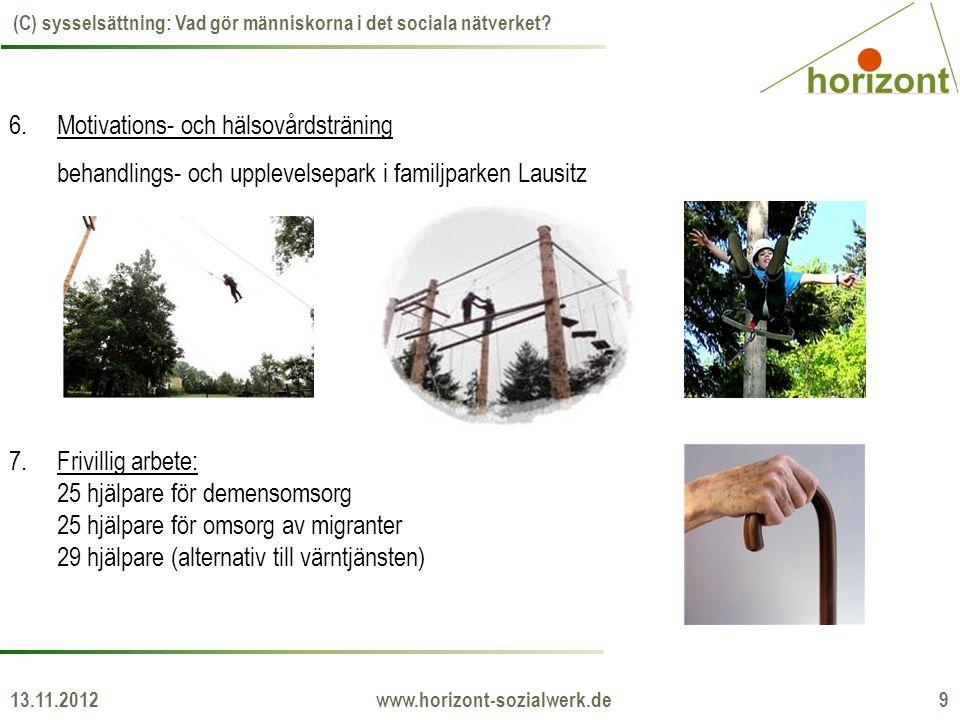 13.11.2012 www.horizont-sozialwerk.de 9 (C) sysselsättning: Vad gör människorna i det sociala nätverket? 6.Motivations- och hälsovårdsträning behandli