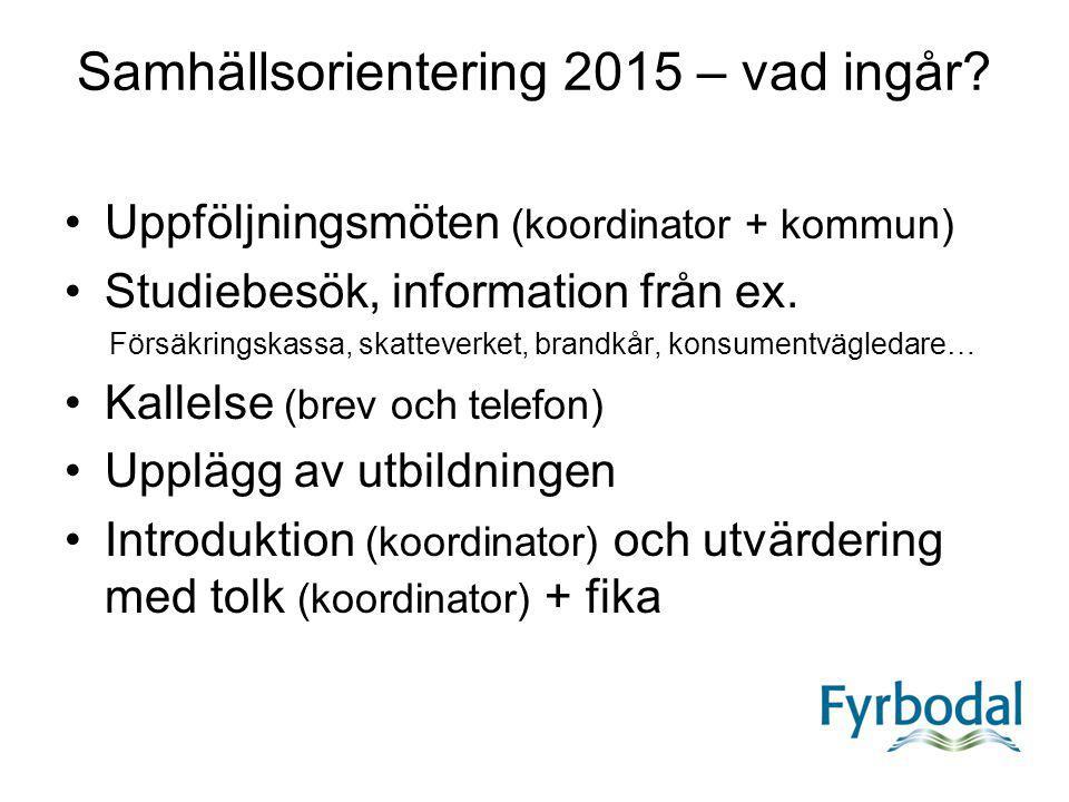 Samhällsorientering 2015 – vad ingår? Uppföljningsmöten (koordinator + kommun) Studiebesök, information från ex. Försäkringskassa, skatteverket, brand