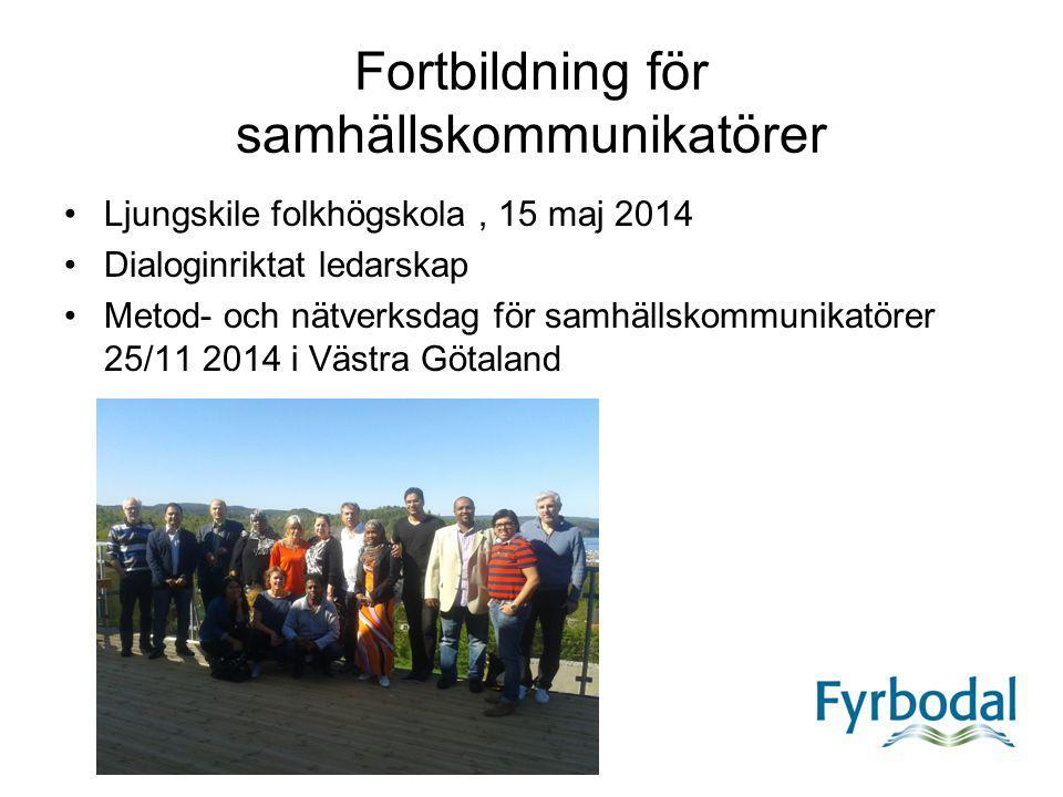Fortbildning för samhällskommunikatörer Ljungskile folkhögskola, 15 maj 2014 Dialoginriktat ledarskap Metod- och nätverksdag för samhällskommunikatöre